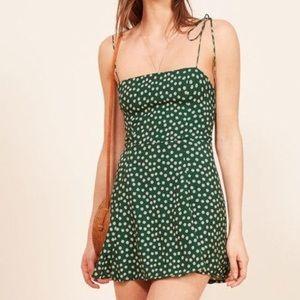 Green floral printed shoulder self tie mini dress